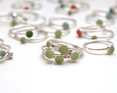 Size 4 Colorful Stackable Rings Sterling Silver with Baked Industrial Enamel made by DAMetals