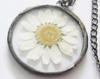 daisy necklace - real flower necklace - flower necklace  - white flower necklace - bridal necklace - hippie necklace -