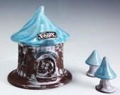 Handcrafted Pottery Fairy Garden House . Pottery Garden Lantern