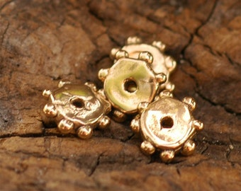 Five Bronze Flat Daisy Spacers Beads