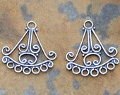 Bali Sterling Silver Oxidized Chandelier Pair - 18mm x 19mm