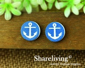 Buy 1 Get 1 Free - Anchor Wood Cabochon, Wooden Button,12mm 15mm 20mm  Round Handmade Photo Wood Cut Cabochon -- HWC003E