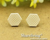 Buy 1 Get 1 Free - 20pcs 16mm  Hexagon Handmade Photo Wood Cut Cabochon   -- HWC404S