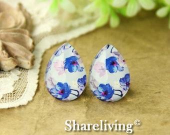 4pcs 18x25mm Handmade Photo Teardrop Glass Cabs Cabochons  (Flower) -- BCH952J