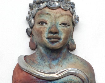 Buddha Kwan Yin Wall Hanging in Raku Ceramics