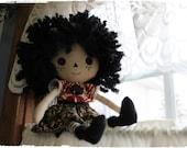 Raggedy Ann Style doll, gypsy or goth type