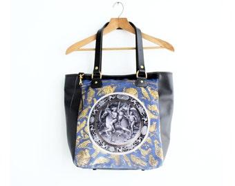 Leather Tote, Leather Bag, Velvet Bag, Printed Bag, Black Leather Bag, Patterned Bag, Velvet Tote Bag, Norwegian Wood, Kimberly Fletcher