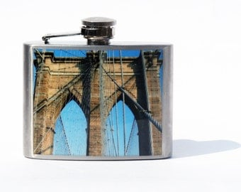 Groomsmen Flask- HIP FLASK - Brooklyn Bridge Flask - 4oz