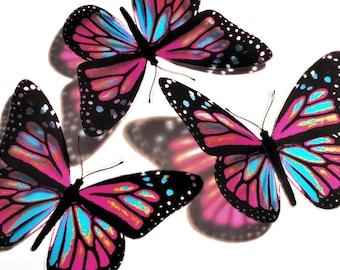 10 x 3D Butterflies - KIDDYARCH - Pink and Blue - Girls Bedroom, Nursery, Baby, Baby Shower, Christening, Wall Decor, Art, Mirror, Nature