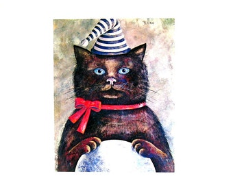 Cat Print - Curiosity, Cat in a Hat - 1985 Vintage Book Page - 9 x 12