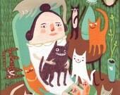 Cat Lady Art Print - Whimsical Folk Artwork - Teal and Orange