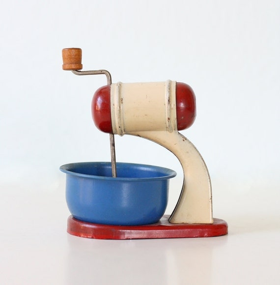 Vintage Toy Mixer - Delta Toy Doll Kitchen Mixer, Red, White and Blue