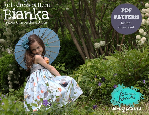 PDF pattern Instant Download Bianka tea party DRESS featuring Indelible fabrics by Katarina Roccella including girls sizes 6 months - 10 yrs