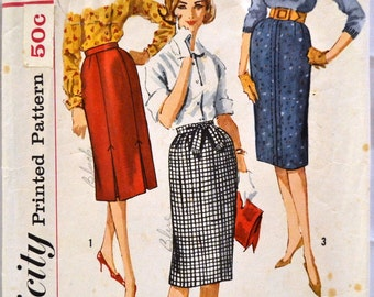 Vintage 1960's Sewing Pattern Simplicity 3744 Misses' Skirts Waist 26 Hips 36 Complete