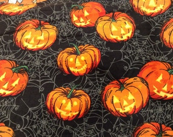 Jack O' Lanterns on Spider Webs  Half Yard All Cotton Halloween Fabric