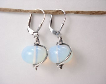 Opalite Glass, Sterling Silver Earring, Translucent Stone, Dangle Earring