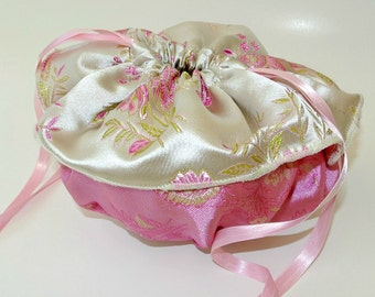 SALE PRICE , Pink Evening Bag , Victorian Drawstring Bag , Wristlet , Victorian Purse , Wedding Handbag , Evening Pouch