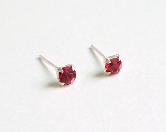 3 mm Small  Red Crystal 925 Sterling Silver Stud Earrings - Bridesmaid Gift - Cartilage Earrings - Hypoallergenic  Second Hole Earrings