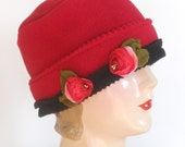 ladies Polar Fleece Hat - Cherry Red with French Ribbon Roses - Sophie