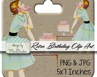 Retro Birthday Party Clip Art  Image Transfer  .PnG and JpG Image - INSTANT DOWNLOAD