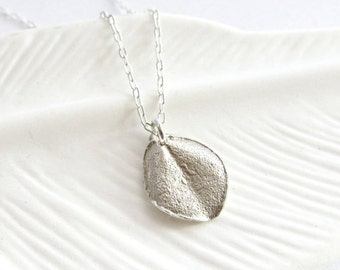 Tiny ohi'a leaf necklace, sterling silver leaf necklace, silver leaf jewelry, simple silver necklace