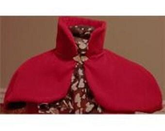 Red Bridal Cape,Victorian Velvet Caplet,Red velvet wedding stole,