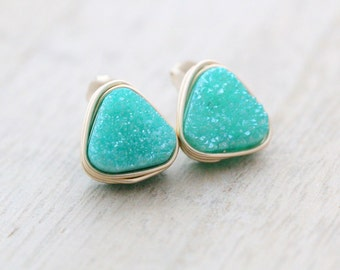Triangle Druzy Studs, Bezel Wrapped Emerald Mint Green Pastel  Quartz In Gold, Silver, Rose Gold, Minimalist - Buttermint