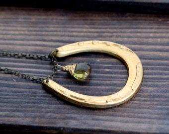 Horseshoe Necklace - Vintage Brass Horseshoe Pendant & Beer Quartz Charm - Delgado Necklace