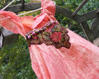 Repurposed Vintage Baby Doll Tunic Top Orange Bohemian Chic Summer Wear for Hot Days