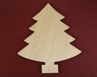 Pine Tree Shape Unfinished Wood Laser Cut Shapes Crafts Variety of Sizes