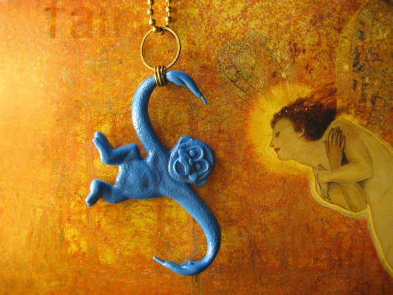 Monkey Necklace Blue Monkey Childhood Whimsical LAST ONE