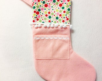 Pink Stocking, Christmas Stocking, Felt Holiday Stocking - Pocket Peeper - Gingerbread - Pink Polka Dot Green Red Lime
