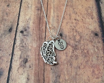 Butterfly initial necklace - butterfly jewelry, insect necklace, spring necklace, silver butterfly necklace, insect jewelry, bug necklace