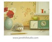 The Hedgehog And The Pincushion.  Art Print From Original Oil Painting