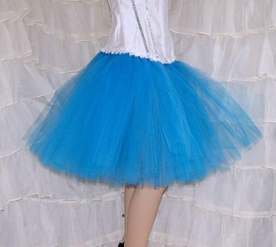 turquoise blue knee length tutu skirt all sizes