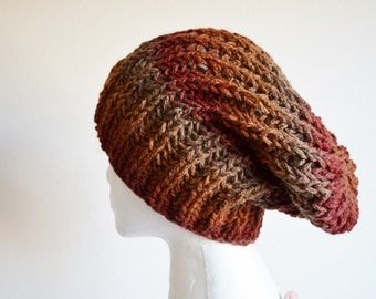 Knit Hat, Hand Knit Hat, Handknit Slouchy Beanie in Russet, Rust, Oxblood Red. Chunky Handmade Knit Hat.