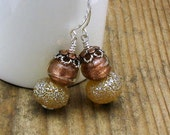 Honey Gold Lampwork Modern Dangle Earrings Copper Murano Glass Sterling Silver Elegant Earrings / Mixed Metals / Shine / Classy