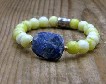 Lapis Focal Sterling Silver Modern Beaded Bracelet, Lemon Lime Candy Jade Stretch Bracelet, For Her Under 150