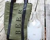 Beer Tote! 1 Growler capacity. Recycled from Army Tent Canvas & Bicycle Tubes.