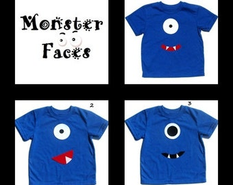 Monster Face...Fabric  Iron On Applique(s) ... Pick From 3 Designs
