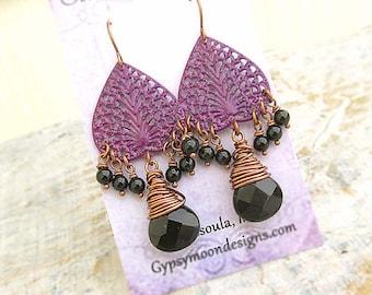 Purple earrings Bohemian earrings Filigree chandelier earrings Plum earrings boho chic jewelry