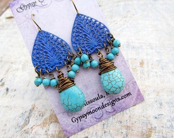 Summer chandelier earrings Colorful Turquoise earrings Bohemian earrings Summer trends jewelry