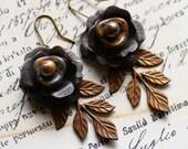 Rose Earrings, Flower Earrings, Rustic Earrings, Layered Boho Earrings, Floral Bohemian Jewelry, Brown earrings,Pearl Earrings,HandmadeSRAJD
