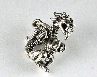 3D Dragon Solid 925 Antiqued Sterling Silver Pendant Charm (1 piece)