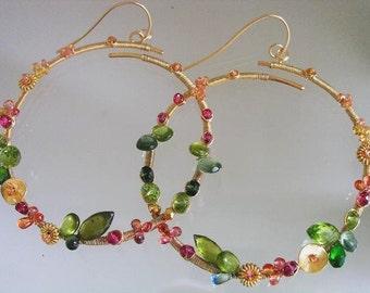 Gemstone Wire Wrapped Gold Filled Hoops, Artist Made, Peridot, Vesuvianite, Orange Sapphire, Original Design, Signature, Made to Order