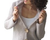 Custom Order For Laura Schlotel - Ecru Cardigan With Hood Coconut Buttons