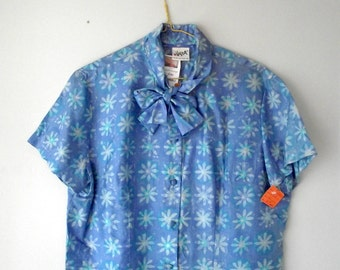 Vera Silk BOW Blouse New Old Stock Blue Floral 1960s LARGE