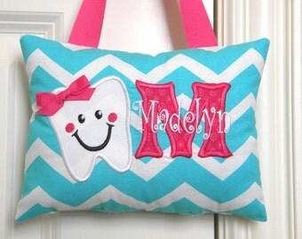 Tooth Fairy Pillow - Aqua Chevron
