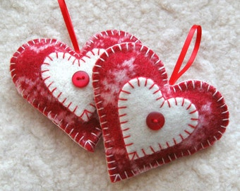 Heart Felt Christmas Ornaments, Set of Two, Red and White Upcycled Sweater Wool Christmas Ornaments