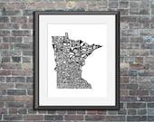 Minnesota typography map ...
